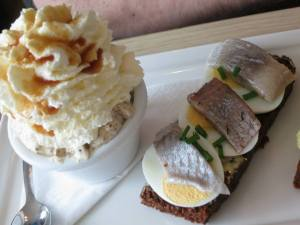 Rye bread ice cream and picked fish on rye at Cafe Loki