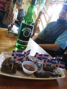 Whale meat and shots of Black Death at the Seabaron
